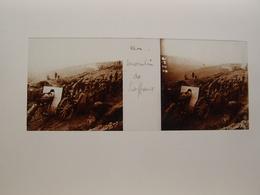 Photo Plaque De Verre Stéréoscopique Guerre 14-18 Poilus Moulin De Laffaux Artillerie - Diapositiva Su Vetro