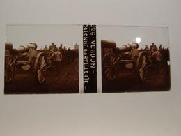 Photo Plaque De Verre Stéréoscopique Guerre 14-18 Poilus Verdun Colonne D'artillerie - Diapositiva Su Vetro