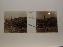Photo Plaque De Verre Stéréoscopique Guerre 14-18 Verdun Ossements - Diapositiva Su Vetro