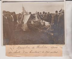 LE MONOPLAN DE WACHTER APRÈS SA CHUTE  AVIATION DE CHAMPAGNE  18*13CM Maurice-Louis BRANGER PARÍS (1874-1950) - Aviación
