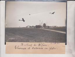 1910 MEETING DE MILÁN THOMAS ET CATANEO EN PISTE 18*13CM Maurice-Louis BRANGER PARÍS (1874-1950) - Aviation