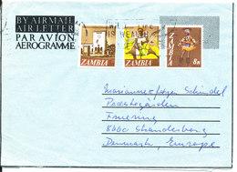 Zambia Aerogramme Sent To Denmark - Zambia (1965-...)