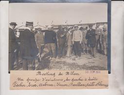 1910 MEETING DE MILÁN GROUPE AVIATEURS TISCHER EROS AUBRUN SIMON CAILLE 18*13CM Maurice-Louis BRANGER PARÍS (1874-1950) - Aviación