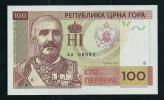 """100 P Montenegro"", Entwurf, Gabris, RRRR, UNC, Ca. 132 X 78 Mm, Essay, Trial, UV, Wm, Serial No. - Fiktive & Specimen"