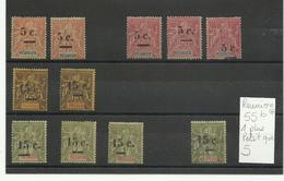 1901 Lot De Réunion Surchargés, Neufs, 55b, Variétés, Cote YT 250€ Voir Description Et Scann - Reunion Island (1852-1975)