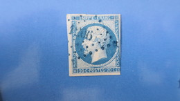 Napoleon N° 14 Obliteration PC 1206 En Bleu Estaires Nord ( Pas D'aminci ) - 1853-1860 Napoléon III