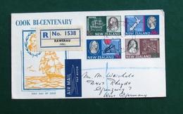 New Zealand QE  II FDC J.Cook Bi-Centenary 1769-1969 Registered (Kawerau) - FDC