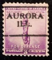 USA Scott # 901, Precancel Aurora, Illinois, 1940v - Prematasellado