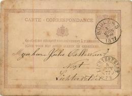 Belgique. CP 6  Roulers > Lichtervelde  Double Cercle  1877  Taches - Marcofilia