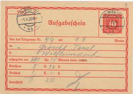 Wien Aufgabeschein Nach Wilfleinsdorf (Bruck/Leitha) - Briefe U. Dokumente