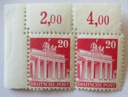 Bizone 20 Pfennig Brandenburger Tor Wg Xx Paar Verzähnt (66396) - Zone Anglo-Américaine