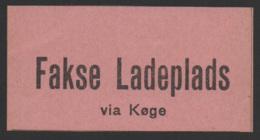 Denmark, Fakse Ladeplatz Via Koge, Railway Stamp, MNH - Danimarca