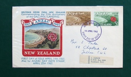 New Zealand QE  II FDC 50 Anniversary ANSAC Gallipoli Landing 1915-1965 - FDC