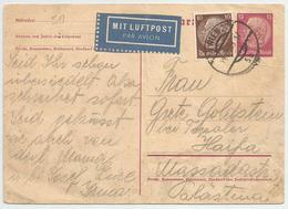 ALLEMAGNE Entier Postal, Correspondance 1939 MIT LUFTPOST, WIEN Autriche -> HAIFA Palästina. Par Avion - Covers & Documents
