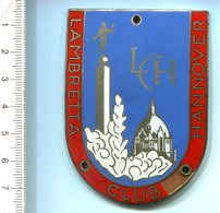 """4816 - Metall-Plakette """"Lambretta Club Hannover"""" - Kleiner Fehler Unten Rechts (Lehmann & Wundenberg) - Motos"""
