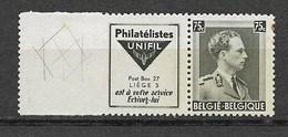 Reclamezegel Met Strepen In Marge, Leopold III, 75 C, UNIFIL; OCB Nr. 141 XX - Publicités