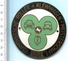 """4817 - Metall-Plakette """"Hannoversche Roller + Kleinwagen-Meisterschaft 1958""""  (hergestellt Von Lehmann & Wundenberg) - Motorräder"""