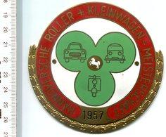 """4818 - Metall-Plakette """"Hannoversche Roller + Kleinwagen-Meisterschaft 1957""""  (hergestellt Von Lehmann & Wundenberg) - Motorräder"""