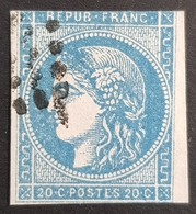 1870-1871, Ceres, 20c Bleu, Émission Dite De Bordeaux, Bordeaux Edition, Republique Française, France - 1870 Bordeaux Printing