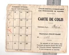Carte De Colis Délivrée Par Mairie De BRECE (35) Pour Prisonnier De Guerre, Stalag Kommando N° 218, ALLEMAGNE - Documents