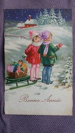 CPA BONNE ANNEE ENFANTS LUGE CADEAUX POUPEE PAYSAGE DE NEIGE 1935 - New Year