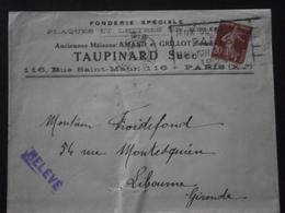 FRANCE TIMBRE 139 SEMEUSE LETTRE ENVELOPPE PLI COURRIER FLAMME PARIS DEPART JEUX OLYMPIQUES JO 1924 FONDERIE TAUPINARD - Summer 1924: Paris