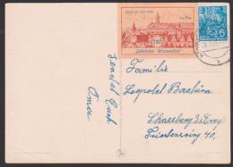 """Wermsdorf Vignette Zu 5 Pfg. """"750 Jahrfeier Wermsdorf"""" Auf Glückwunschkarte Von März 1956 - [6] Repubblica Democratica"""