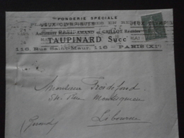 FRANCE TIMBRE 130 SEMEUSE LETTRE ENVELOPPE PLI COURRIER FLAMME KRAG PARIS  JEUX OLYMPIQUES JO 1924 FONDERIE TAUPINARD - Summer 1924: Paris