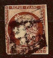RARE CERES N°6 1F Carmin Foncé Oblitéré GRILLE Cote 1000 Euro LEGER AMINCI - 1849-1850 Ceres