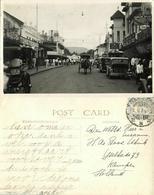 Indonesia, JAVA BANDUNG, Street Scene With Shops, Cars (1934) RPPC Postcard - Indonesië