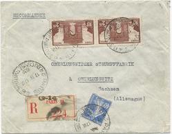 LETTRE RECOMMANDEE 1932 POUR L'ALLEMAGNE AVEC 3 TIMBRES ARC DE TRIOMPHE / SEMEUSE - Marcophilie (Lettres)