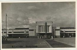 Indonesia, JAVA BANDUNG, Railway Station (1920s) RPPC Postcard - Indonesië