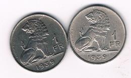 2 X 1 FRANC 1939 FR+VL BELGIE/5545/ - 04. 1 Franc