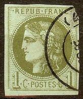 EXTRA BORDEAUX N°39 B 1c Olive Oblitéré Cachet à Date Cote 200 Euro PETIT AMINCI - 1870 Bordeaux Printing