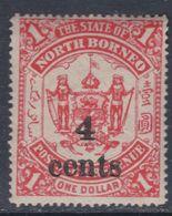 Bornéo Du Nord : Compagnie N° 106 X Partie De Série Surchargée : 4 C. Sur 1 D. Rouge Trace De Charnière Sinon TB - Bornéo Du Nord (...-1963)