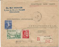 LETTRE RECOMMANDEE - ECHANTILLON SANS VALEUR - 1936 POUR L'ALLEMAGNE AVEC 3 TIMBRES - 1921-1960: Modern Tijdperk