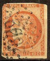 RARE BORDEAUX N°48d 40c Rouge Sang Clair Oblitéré Losange GC Cote 900 Euro - 1870 Emissione Di Bordeaux