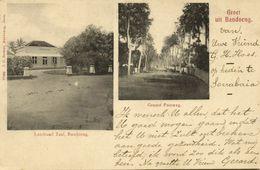 Indonesia, JAVA BANDUNG, Landraad Zaal, Groote Postweg (1899) Postcard - Indonesië