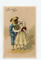 Illustrateur Non Signé . Chiens Humanisés Et Habillés . BOULEDOGUE Et CANICHE . Humanized And Dressed Dogs Bulldog - Animali Abbigliati