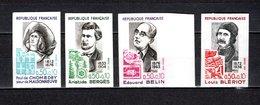 FRANCE  N° 1706 à 1709   NON DENTELES  NEUFS SANS CHARNIERE  COTE 95.00€   PERSONNAGES CELEBRES - No Dentado
