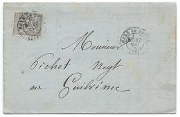 15c SAGE SUR LETTRE / GARE DE RENNES POUR GUILVINEC 1878 - Marcofilia (sobres)