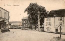 """Belgique. CPA. VIRTON.. Place Verte. Commerce """"au Vrai Bon Marché"""". 1919 - Virton"""