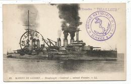 GRIFFE ESCADRE TIRAILLEUR CARTE MARINE DE GUERRE CUIRASSE CONDORCET TOULON 1916 - Posta Marittima