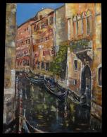 [ITALIA VENEZIA Huile Sur Toile] Canal à Venise. - Huiles