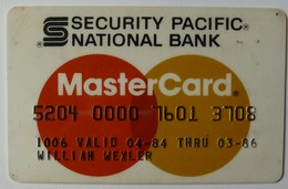 USA - Credit Card - Master Card - Security Pacific National Bank - Exp 03/86 - Used - Krediet Kaarten (vervaldatum Min. 10 Jaar)
