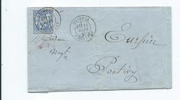 Lettre De Quimper Pour Pontivy Morbihan 1877 - Storia Postale
