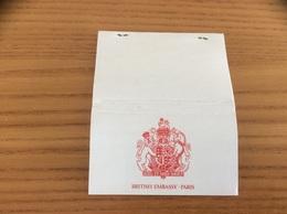 Pochette D'allumettes PUBLISTIP «BRITISH EMBASSY PARIS» (Blason) - Matchboxes