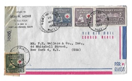 Wwii Haiti 1945 Censor Airmail Cover Port Au Prince To US Multifranked 362 365 C26 RA1 - Haiti