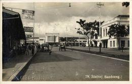 Indonesia, JAVA BANDUNG, Railway Station (1920s) Braga RPPC Postcard - Indonesië