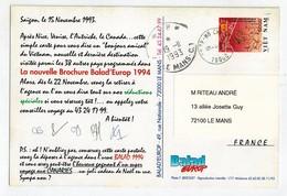 Cp Entier HO CHI MINH Pour La France 1993 - Viêt-Nam